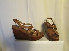 sandales compensées MIU MIU cuir marron clair 39