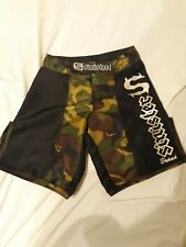 Euc Sinister Brand Mens Camo Fighter Trunks Size 28 Mma Shorts Workout Gladiator