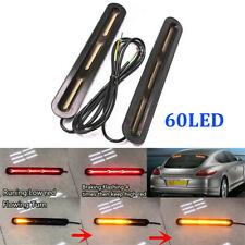 60 LED Brake Flowing Tail Car Light Exterior Pair Strip Flasher Bar Turn Signal