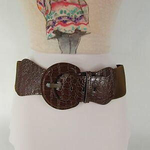 Women Hip Elastic High Waist Stretch Brown Color Wide Belt Faux Leather XS S M