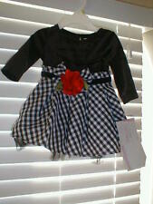 NWT BOUTIQUE RARE EDITIONS BLACK/WHITE FORMAL INFANT DRESS 6-9
