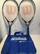 Set of 2 Wilson Tennis Racquets Sport Blue Handles Plus Blue Carrying Bag