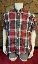 Pendleton Red Blue Button Up Dress Shirt Size XL
