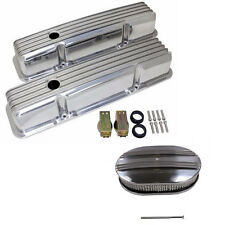"58-86 SBC Chevy 350 Polished Aluminum Valve Covers & 12"" Oval Air Cleaner Kit"