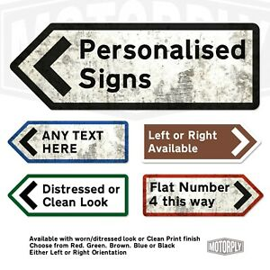 Metal Wall Sign - Personalised UK Road Direction Arrow - Custom Left Right Point