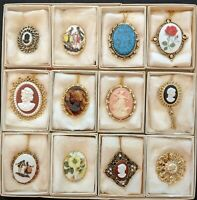 Mix Lot of 12 Vintage Lady head Greek Cameo Brooch Pin Pendant Necklace