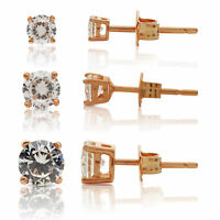 Set of 3 Cubic Zirconia Rose Gold Plated 925 Silver Stud Earrings 3mm, 4mm, 5mm