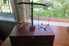 Old Voland & Sons mahogany analytical beam balance, scale, scientific, gold