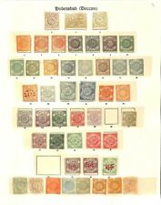 [OP3411] Hyderabad (India States) lot of stamps on 2 pages