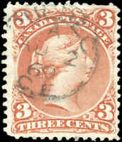 Used Canada F+ Scott #25 3c EARLIER QUEBEC DATE 1868 Large Queen Issue Stamp