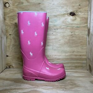 Polo Ralph Lauren Rubber Pull On Knee-High Rain Boots Women's 7 Pink