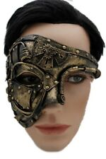 Unisex Gold Black Color Halloween Costume Half Face Mask Steampunk Rave Party