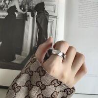 Silberring Silber 925 Ring Verstellbar Offen Vintage Geometrisches Quadrat