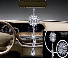 1pcs white crystal flower Car auto vip Charms Chain for Rearview Mirror 28cm DIY