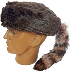 Davey Crockett Coonskin Cap Real Fur Tail Raccoon GRAY Coon Daniel Boone Hat New