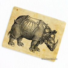 Rhinoceros Deco Magnet, Decorative Fridge Rhino Antique Animal Illustration