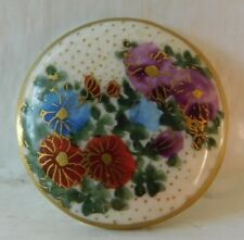 20mm Antique Satsuma button~ceramic painted chrysanthemums~Gorgeous!