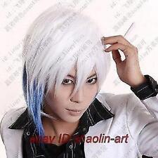 blanc bleu mixted court raide animation Cosplay fête plein cheveux perruques