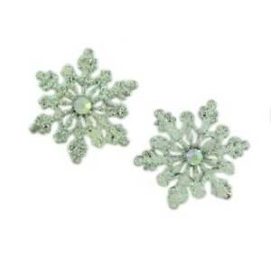 White Glitter Snowflake Christmas Pierced Earring - XP631E