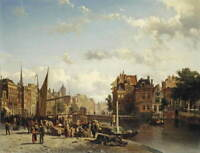 Cornelis Springer View of the Rokin in Amsterdam Poster Giclee Canvas Print