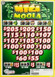 """Pull Tab Ticket """"MEGA MOOLA"""" -$908.00 HUGE $$ PROFIT - FREE Shipping!"""