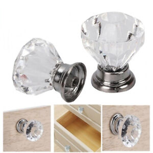32X Diamond Shape Glass Crystal Door Knobs Drawer Cabinet Furniture Handles Set