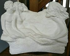 God's Creation of Man Adam and Eve White Plaster Sculpture Art Decor 14x11x3.5