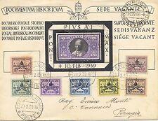 1939 VATICANO - MORTE PAPA PIO XI - FRANCOBOLLO DA 1 L. SOPR. A LUTTO VIAGGIATO