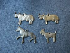 Antique 2 bulls, horse and goat silvered metal dangles pendants