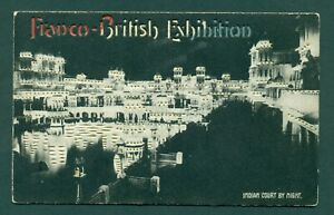HOLD TO LIGHT FRANCO BRITISH EXHIBITION INDIAN COURT BY NIGHT,vintage postcard