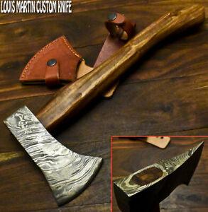 Louis Martin Hand Forged Damascus Steel Walnut Wood Hatchet Hunting Axe Knife