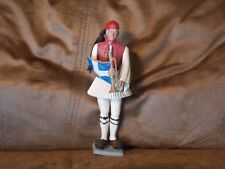 Greek Aohna Athena Toy Soldier Holding a Bugle Flag 6 Inches Tall See Pics.
