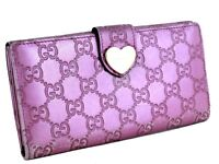 Auth GUCCI GG Pattern Heart Motif Pink Leather Bifold Long Wallet Purse Italy