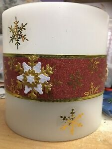 3 Led Wax Candle Red Snowflake Glitter Table Decoration Christmas Lantern Lamp