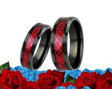 His and Her Tungsten Black Red dragon Celtic Engagement  band Wedding Ring Set