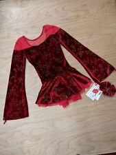 Mondor Red Velvet Glitter Floral Print Bell Sleeve Mesh shoulders Ice Skating