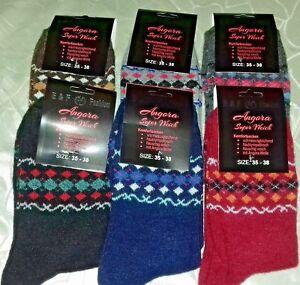 Angora Woll-Socken 6 Paar mit 30 % Angora kuschelig weich und warm 35-38 39-42**