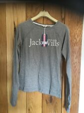 Womens Girls Jack Wills Long Sleeve T Shirt Winstanley Heritage Grey Size 8