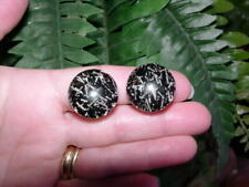 Vintage Lucite - GLITTER CONFETTI - clip EARRINGS - black with silver