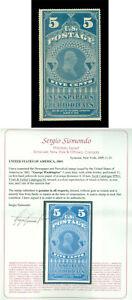 US 1865  NEWSPAPER Stamps  - Washington  5c blue  Scott # PR4 mint MH VF w/Cert.