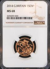 2014 Great Britain Gold Sovereign MS68 NGC BU COIN UK SOV High Grade