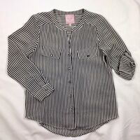 EUC Women's Romeo & Juliet Couture Black and Ivory Striped Roll Sleeve Top-Sz M