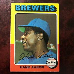1975 Topps Set HANK AARON #660 MILWAUKEE BREWERS - EX