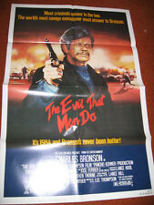 THE EVIL THAT MEN DO original MOVIE POSTER >1984 PROMO Charles Bronson vigilante