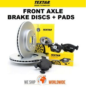 TEXTAR Front Axle BRAKE DISCS + BRAKE PADS SET for BMW 5 (F10) 530 i 2009-2013