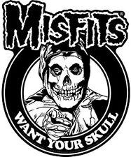 Misfits Want Your Skull vinyl sticker 100mm x 100mm (cv)