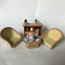 Calico Critters Conservatory, sitting room, tea set, wicker chairs