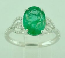 14k Solid White Gold Natural Diamond & Oval Emerald Ring 2.28 ct  Dainty ring