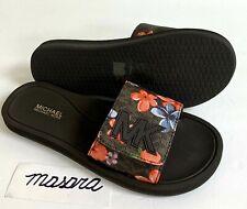 Women MK Michael Kors Slide Sandals Mini MK Logo Brown