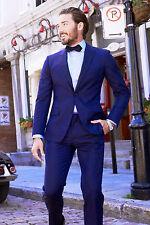 Hombre Azul Smoking Cena Informal Traje de Diseño Boda Novios (Chaqueta + Pants)